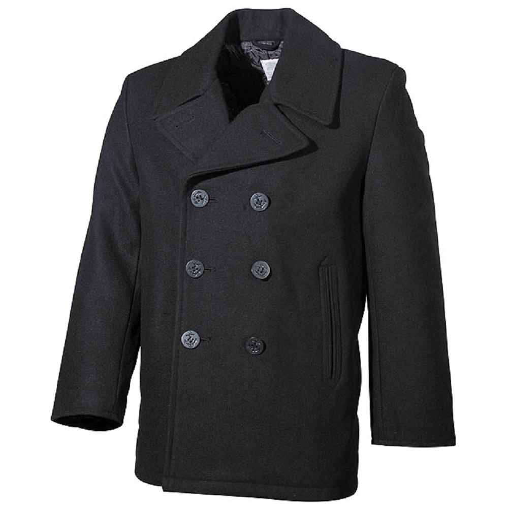 us pea coat kn pfe herren woll mantel jacke marine army kurzmantel navy schwarz ebay. Black Bedroom Furniture Sets. Home Design Ideas