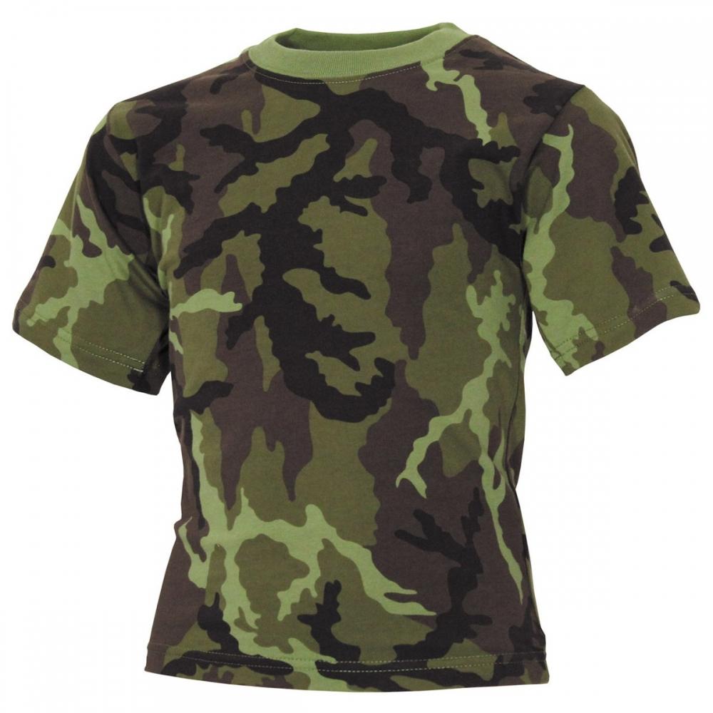 Jungen Kinder T-Shirt Grün Camouflage Army Flecktarn Outdoor Baumwolle Kurzarm