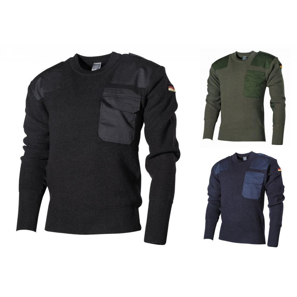 Details zu BW Pullover mit Brusttasche Bundeswehr Pulli schwarz oliv blau 48 62 NEU