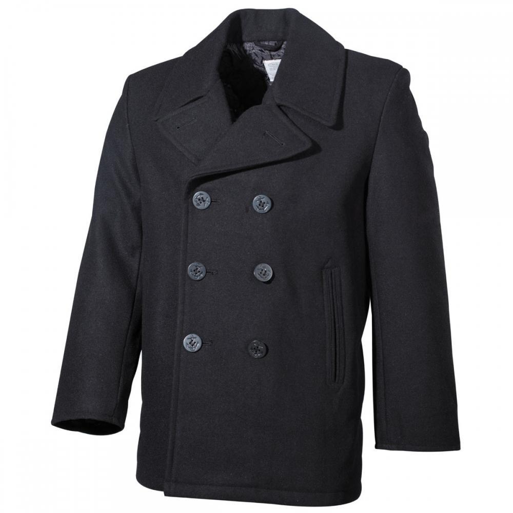 Details zu US Pea Coat Knöpfe Herren Woll Mantel Jacke Marine Army Kurzmantel Navy schwarz