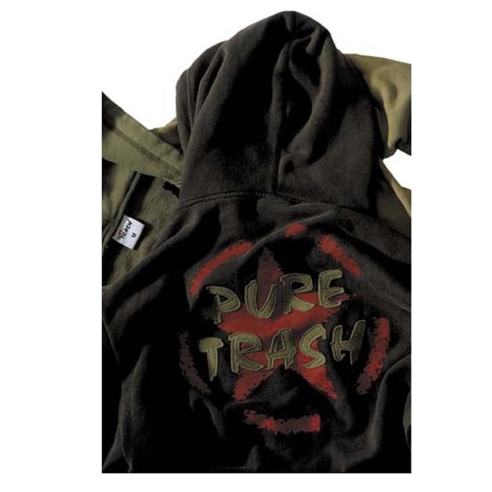 Pure Trash Kapuzen Sweatshirtjacke Jacke Sweatshirt Sweat Shirt schwarz NEU
