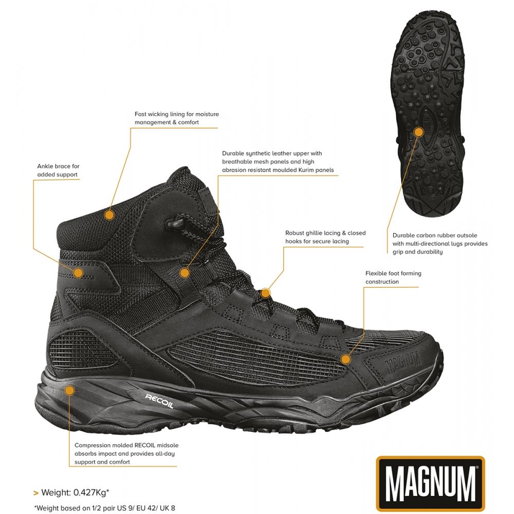 Magnum utilisation Bottes Assault Tactical 5.0 Noir Bottes Chaussures Boots Black