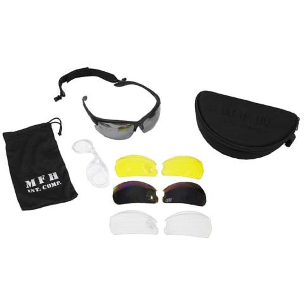 MFH Armee Sportbrille Sonnenbrille Schiessbrille Strike + 3 Ersatzgläser NuZLgIXo